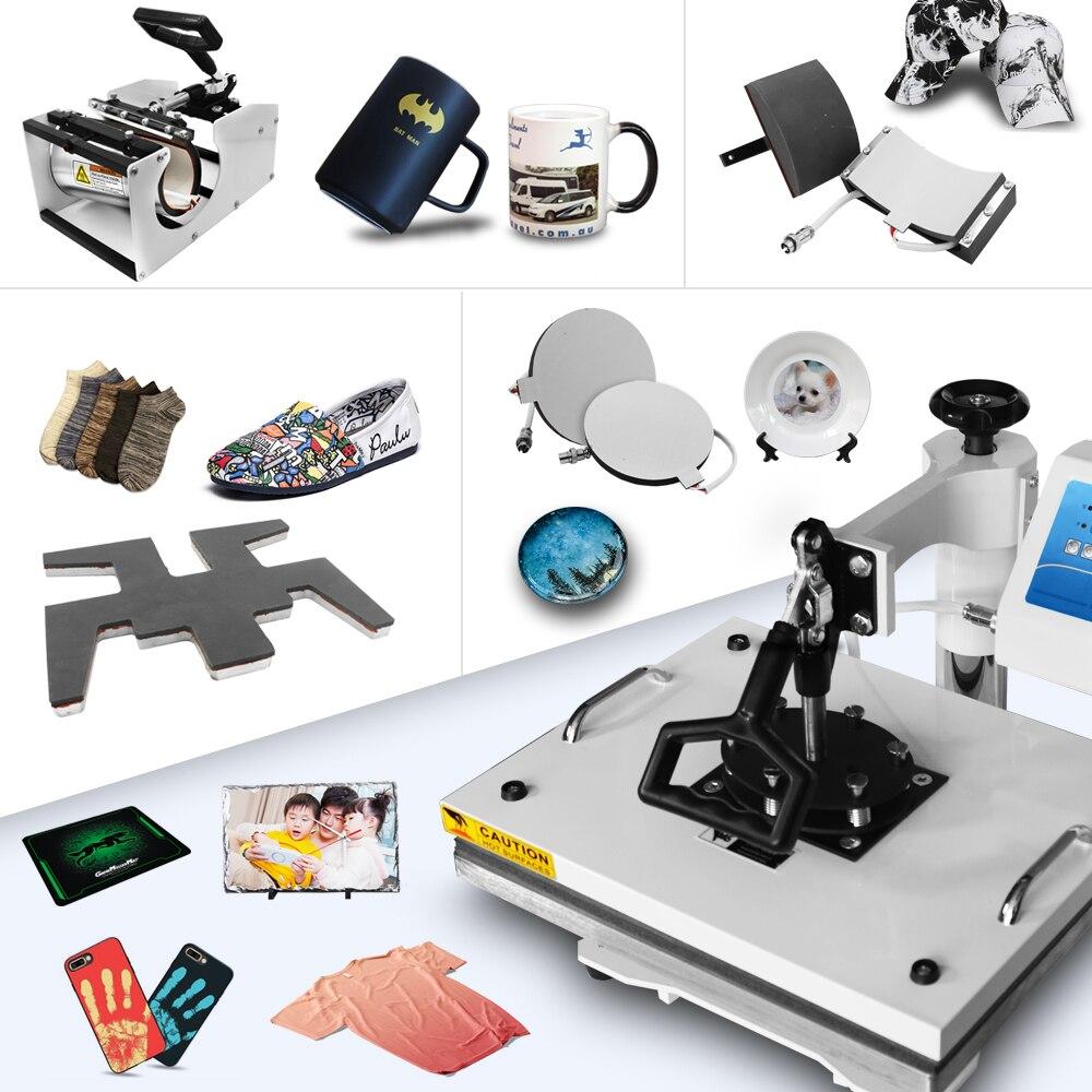 Гладкая печать 9 в 1 Многофункциональный ЖКД встряхнуть теплообменная машина для кружки Крышка футболка чехол для телефона