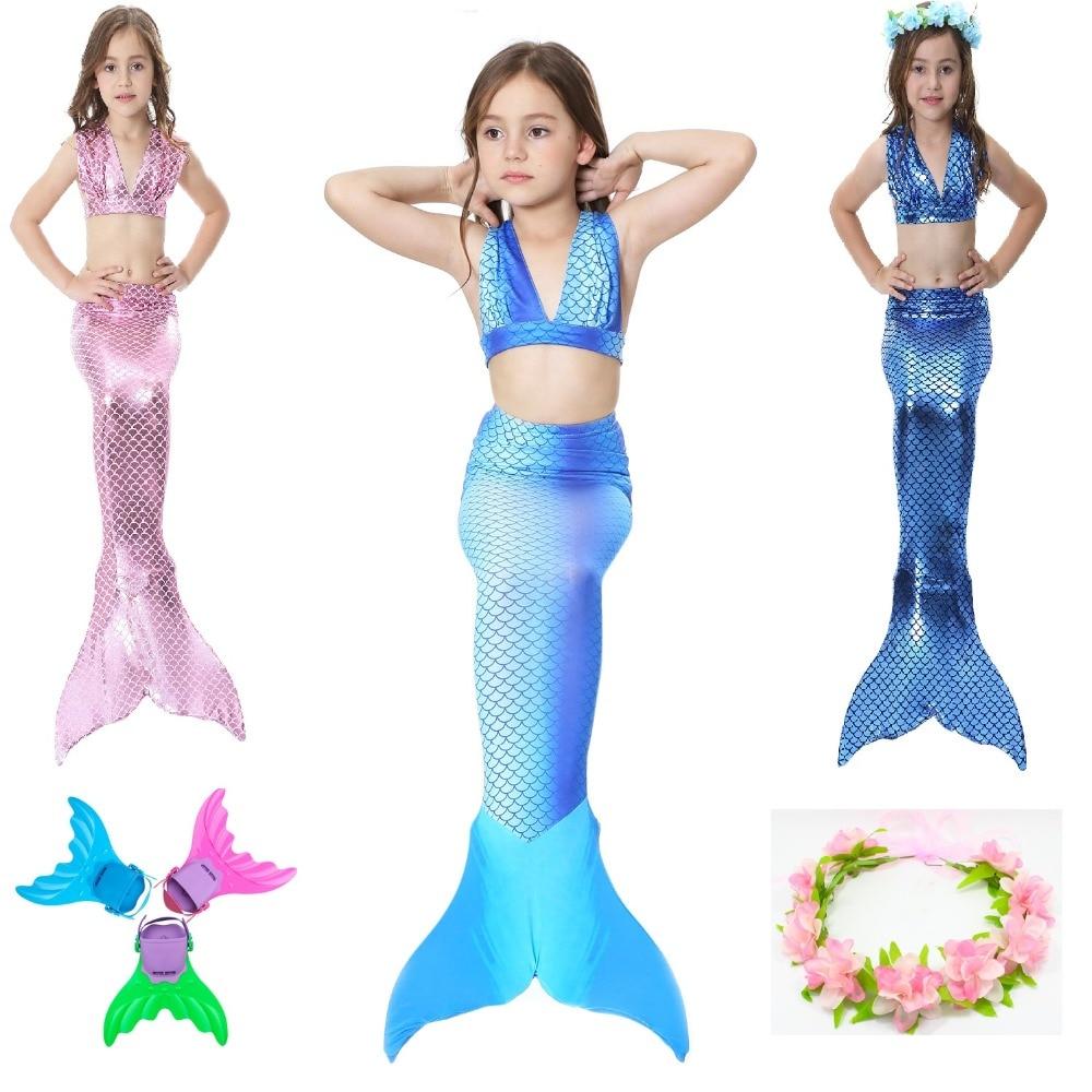 2019 HOT Kids Children Mermaid Tails for Swimming Costume Cosplay Girls Swimsuit with Bikini Mermaid tail Free Give Garland