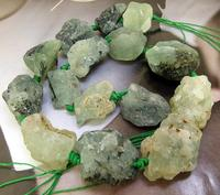 Unique Pearls jewellery Store Charming Nugget Random Natural Prehnite Quartz Stone Crystal Knotted Gemstone Beads 15'' LC3 211