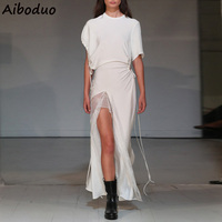 Runway Dress Long White Party Dresses for Women 2019 High Fashion Brand Designer Clothes Female Short Sleeve Bandage Dress