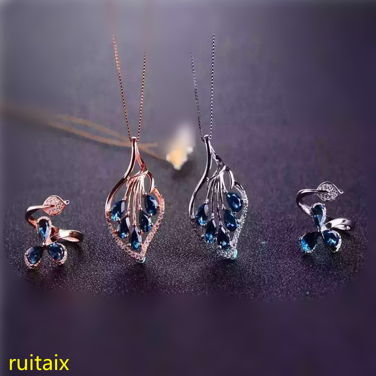 KJJEAXCMY boutique jewels 925 sterling silver inlaid with natural blue topaz jewelry 3 piece pendant + necklace + ring. цены онлайн