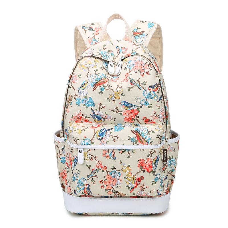 Women Canvas Backpack with Drawings Bird Printing School Bags for Teenage Girls Travel Bag Rucksack Flower