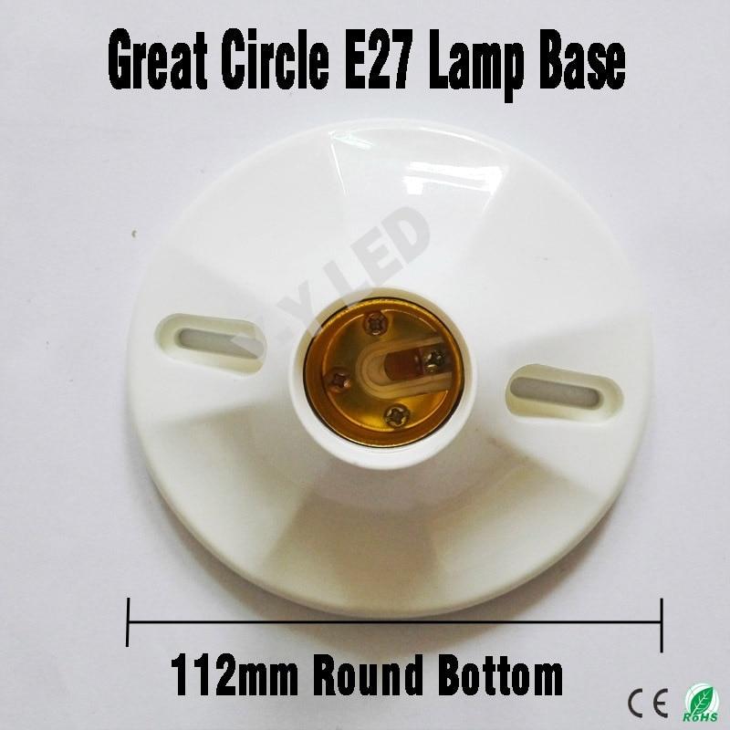 Lamp Bases 112mm Great Circle Bottom Lamp Bases; White Luster 5 Pcs/lot E27 Round Bottom Light Bulb Lamp Socket Holder Adapter