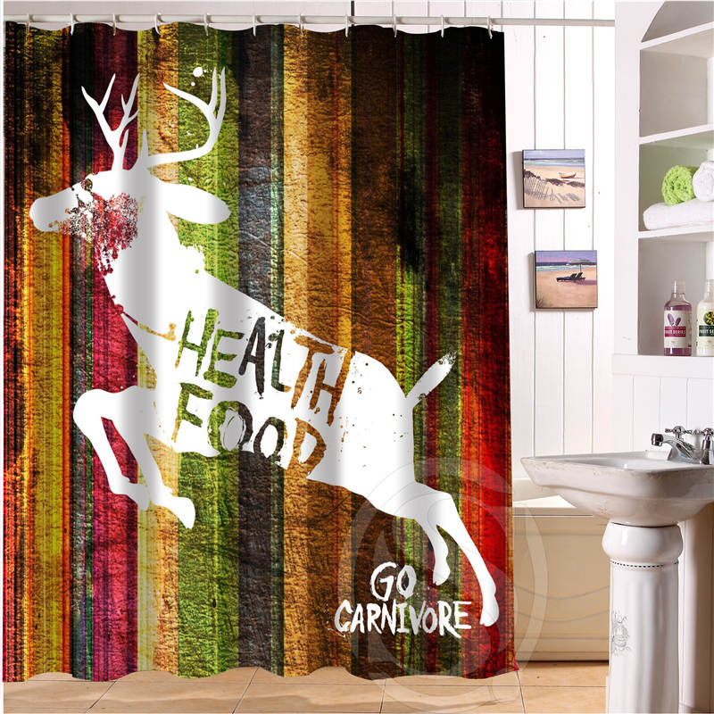 Custom Wood And Deer Shower Curtain New Large European And American Big  Ideas Print Edition Polyester
