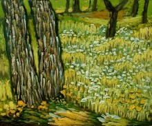 Pine Trees and Dandelions in the Garden of St. Paul Hospital by Vincent Van Gogh Handpainted