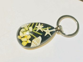 free shipping YQTDMY Time limited 100 pcs charming blue bottom drop double starfish chic keychain