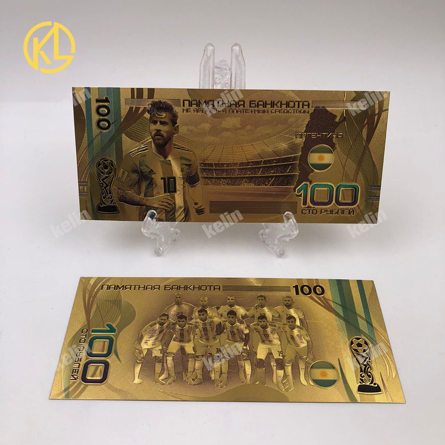 1 шт. хорошая цена Россия банкнот спортивные 100 рублей золотых банкнот в центре сообщений в течение 24k Gold Фольга с Национальный российский Футбол команды - Цвет: KL-Stars-003