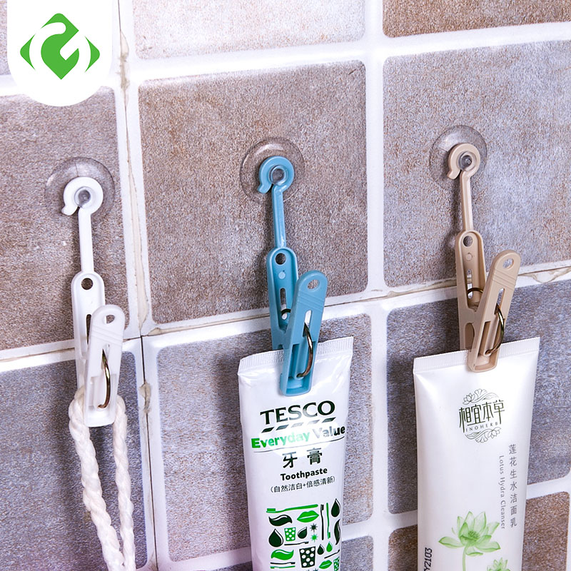Suction Cup Hook With Clip Bathroom Hook Kitchen Storage Finishing Hooks 6Pcs/Bags Multi-Purpose Hooks Bathroom Storage Clip