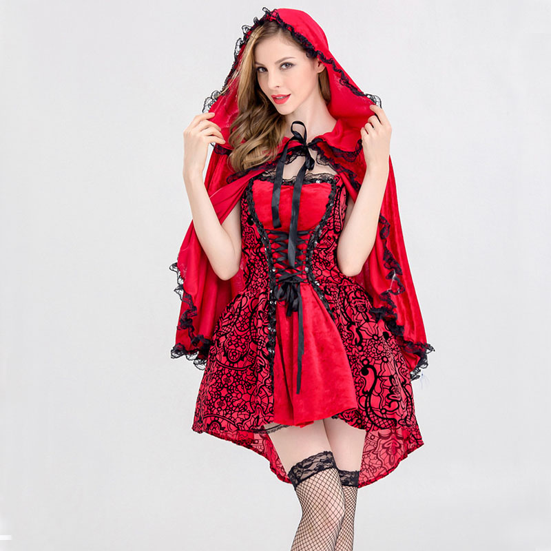 Adult Women Fairy Tale Little Red Riding Hood Costume clork SEXY short lace dress Female Halloween Party Cosplay Fancy Dress XL