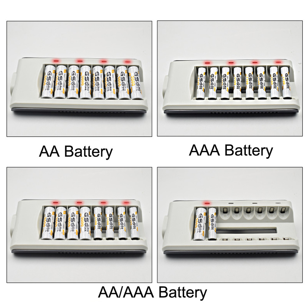 8 Slots LED Light Smart Battery Charger Fast Charger AA AAA Ni-MH / Ni-Cd Batteries Rechargeable Quick Charger US/EU/UK/AU Plug