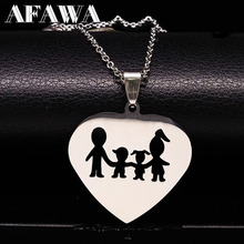Stainless Steel Love Heart Necklaces Women Accessories Family Fashion Jewelry Maxi Necklace Mum colgantes mujer moda ND25A