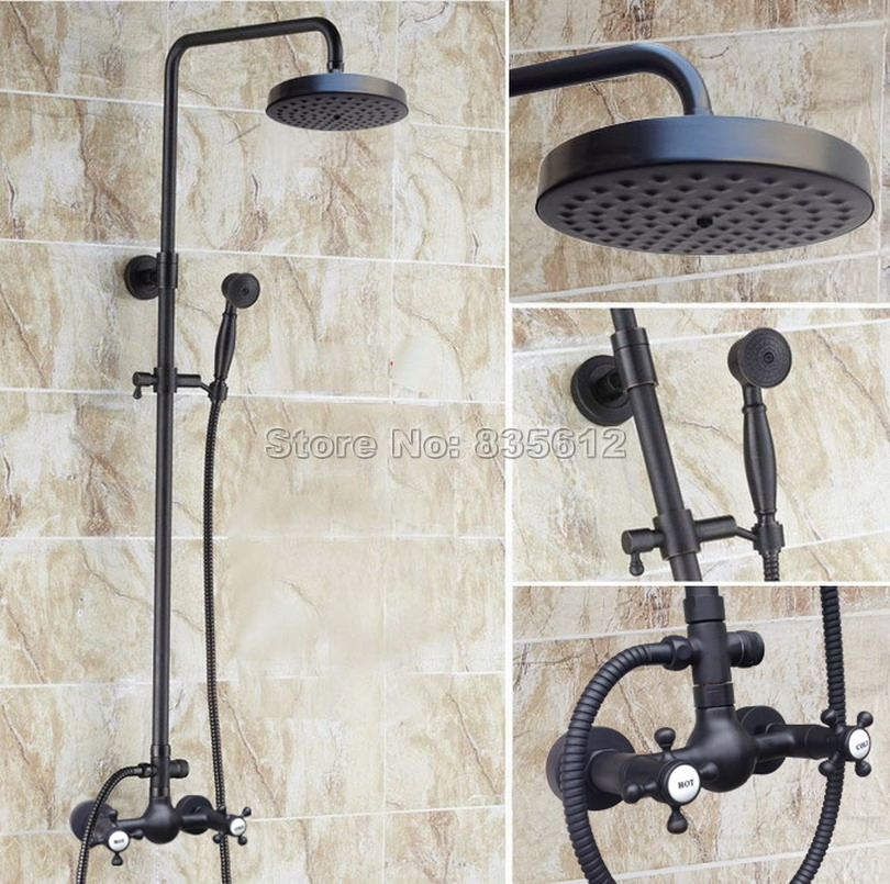 "Oil Rubbed Bronze Bath 8/""Rain Shower Faucet Dual Handles Mixer Tap W//Hand Shower"