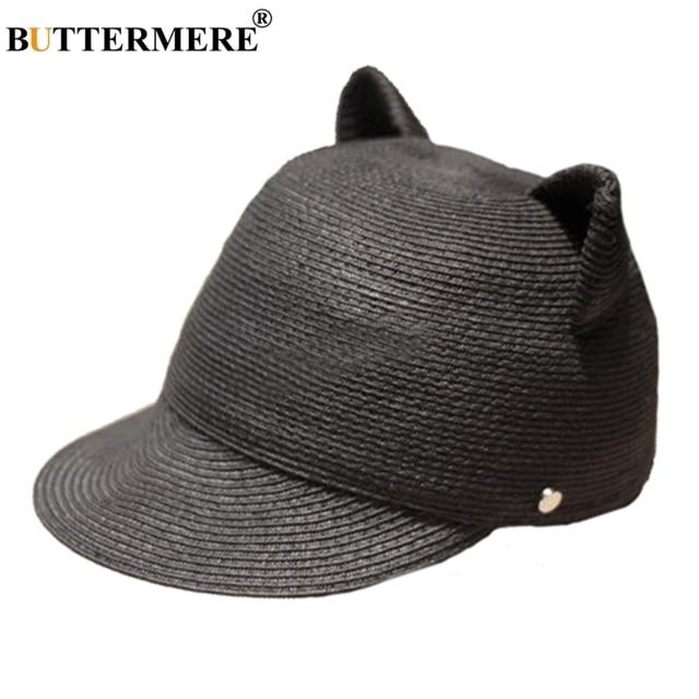 28c99cad BUTTERMERE Baseball Cap Straw Womens Black Kawaii Spring Summer Sun Hats  Cat Ears Beach Designer Casual