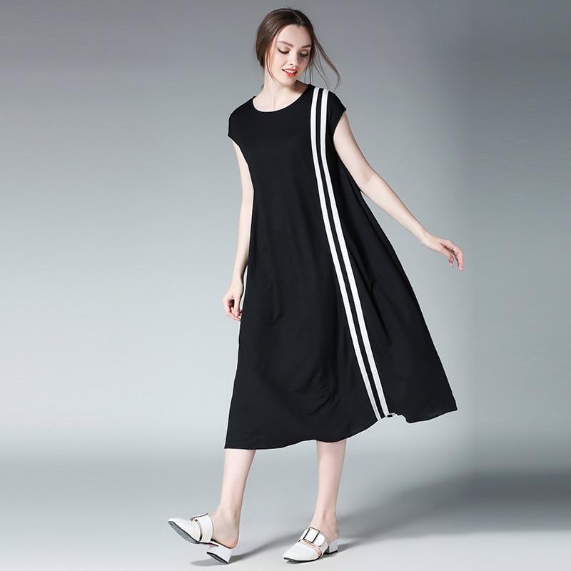 4xl women summer dress plus size 2017 european woman short sleeve fashion brand black patchwork causal