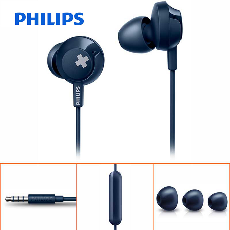 Philips SHE4305 Bass Wired Headset with a Microphone with In-Ear Stereo Noise Cancelling Sport Earphone for LG Official Test resong q5 stylish universal 3 5mm jack wired in ear bass headset w microphone black silver