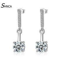 Luxury 925 Sterling Silver AAA Crystal Zircon Rhinestone Stud Earrings For Women Fashion Long Tassel Earings Jewelry Brinco E095