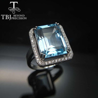 TBJ,Classic Ring with Nautral blue topaz emerald cut oct10*14mm in 925 sterling silver gemstone jewelry with gift box