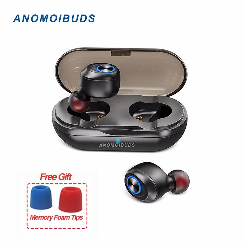Anomoibuds Cápsula TWS V5.0 Fones de Ouvido Sem Fio Bluetooth Fone de Ouvido fone de Ouvido Som de Graves Profundos Stereo Esporte Fone de Ouvido Para Iphone Samsung
