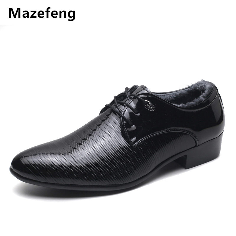 Winter Shoes Men Leather Dress Shoes Pointed Toe With velvet Business Shoes Keep Warm High quality Male Leather Shoes Men Flat