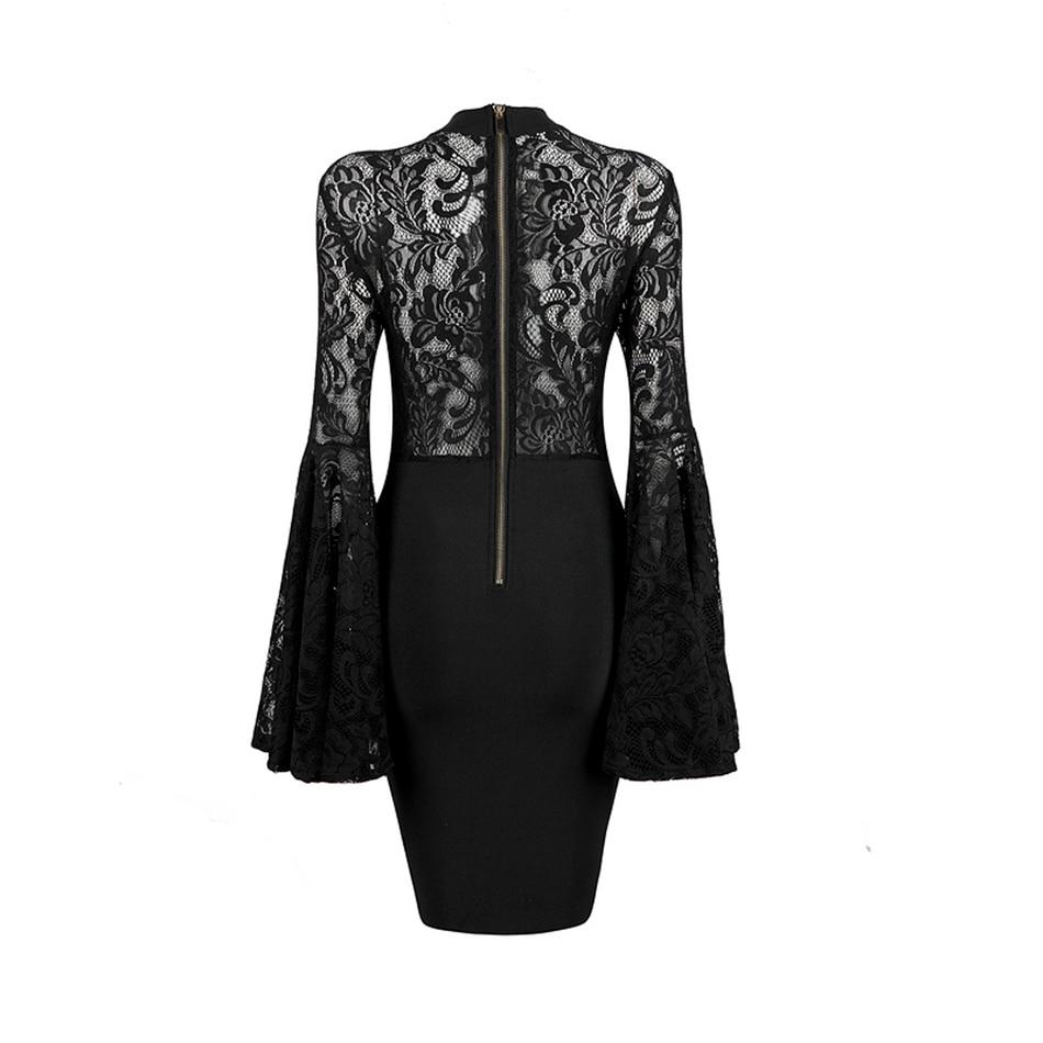 Col Dentelle Nouveau Genou Gros Ailigou Longueur Noir Party Robes Celebrity Hiver Noire Femmes En Bandage Roulé 2018 Robe PxEq4Bzx
