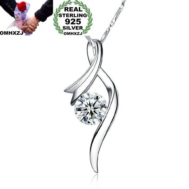OMHXZJ Wholesale European Fashion Woman Girl Party Wedding Gift Amethyst Zircon 925 Sterling Silver Necklace Pendant Charm CA76
