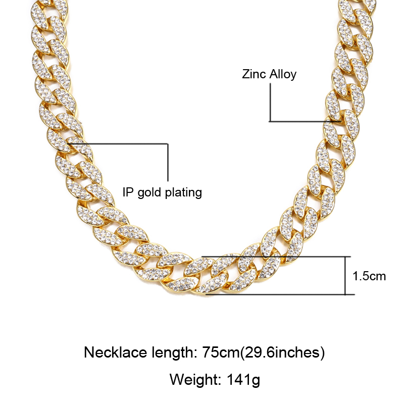 378f48a63e US7 Rock 15mm Miami Curb Cuban Hip Hop Rapper Necklace For Men Gold Crystal  Iced Out Clasp Link Bling Bling Chain Jewelry Choke