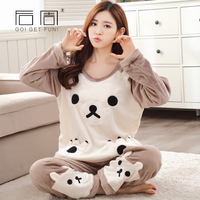 2017 Winter Flannel Pajamas For Women Cute Bear Women Sleepwear Kigurumi Pijama High Quality Casual Soft