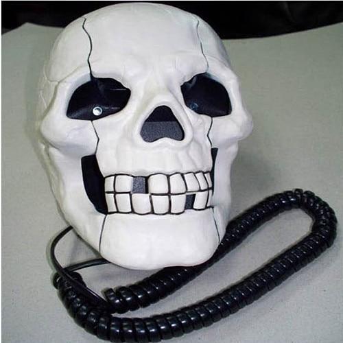 Free Shipping Home Office Decoration Skeleton Skull Shape Wired Telephone w/ Led Eyes
