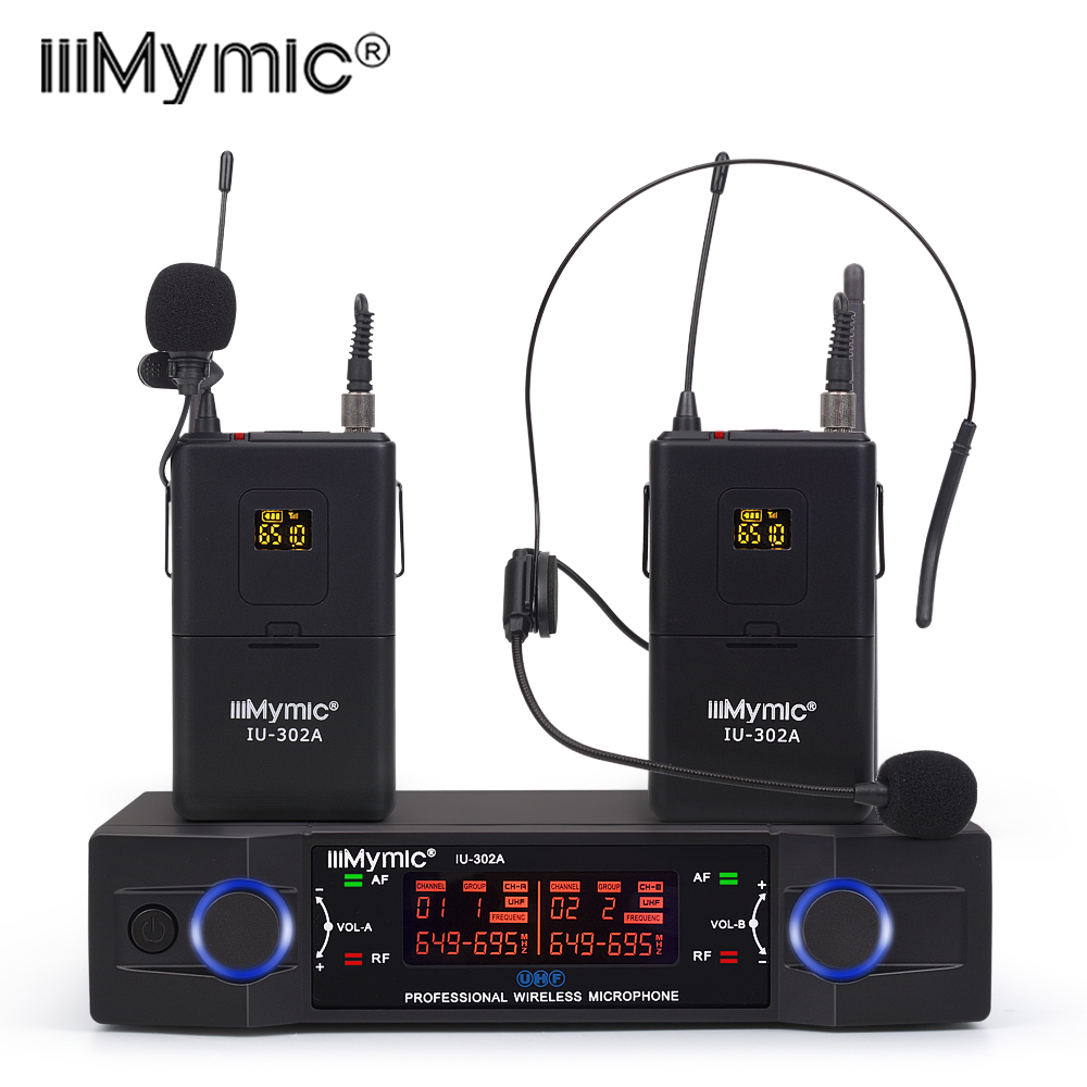 IU 302A Professional UHF 600 700MHz Dual Channel 2 Bodypack 2 Lapel 2 Headset Wireless Microphone