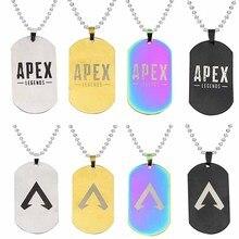 Figuras de acción de Apex legends, collar de colores con grabado de acero inoxidable, colgantes con Logo