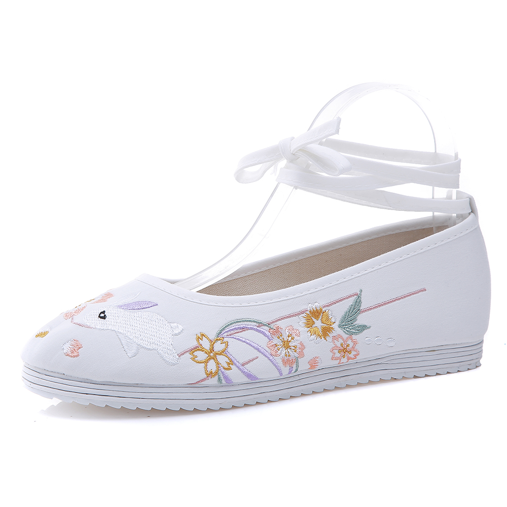 Hanfu Shoes Women Shoes Chinese Vintage Women Flats Ancient Dynasty Cute Rabbit Embroidered Dance Ballet Shoes Woman Huan Tu in Women 39 s Flats from Shoes