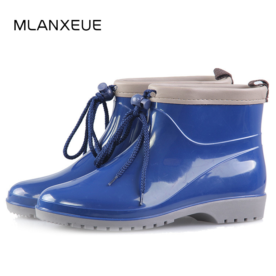 MLANXEUE Non-slip Women Rain Boots Fashion Women Martin Boots Lace-up Warm Female Snow Boots Soft Sole Winter Lady Shoes Boot