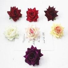 1 piece beautiful faux velvet rose home wedding decoration flower bridal tiara dress up
