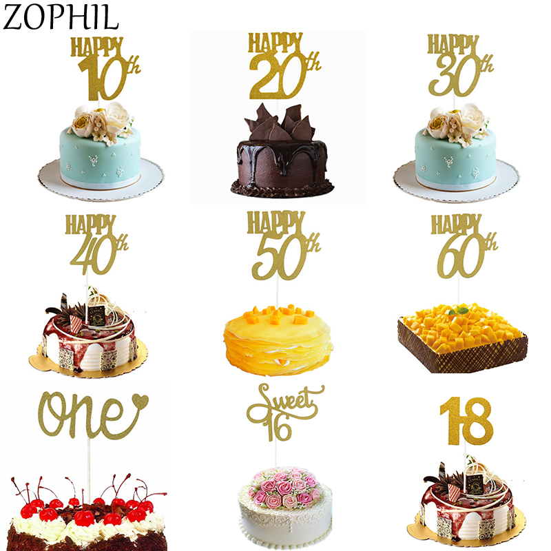 Birthday Party Decorations Kids Adult Shiny Gold Cake Paper Toppers 1st 30 40 50 60 Sweet 16 18 Years One Happy Birthday