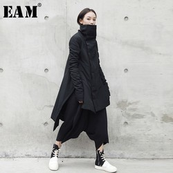 [EAM] 2019  New Fashion Winter Stand Lead Irregular Long Type Cotton-padded Clothes Loose Coat Solid Black Jacket Woman YA771 1