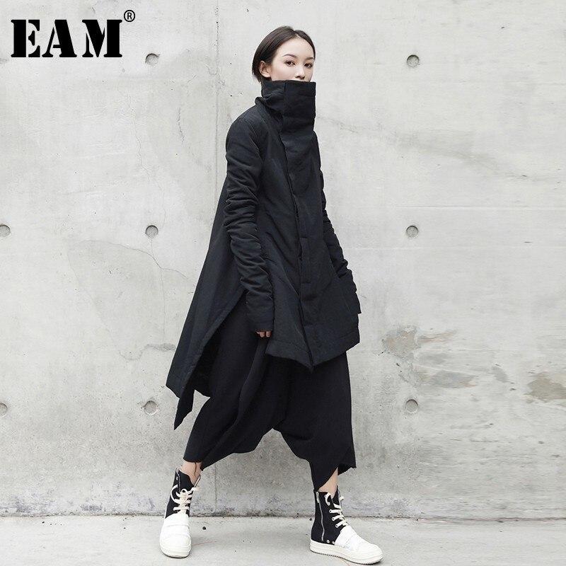 [EAM] 2019 de Moda de Nova Inverno Estande Chumbo Tipo Irregular Longo Algodão-acolchoado Roupas Soltas Casaco Preto Sólido jaqueta Mulher YA77101