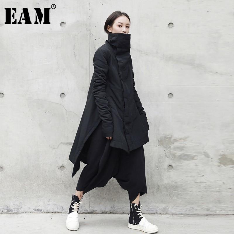 [Eam] 2019 nova moda inverno suporte chumbo irregular tipo longo algodão-acolchoado roupas solto casaco sólido jaqueta preta mulher ya771