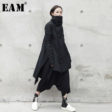 [EAM] 2020  New Fashion Winter Stand Lead Irregular Long Type Cotton padded Clothes Loose Coat Solid Black Jacket Woman YA771