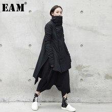 [EAM] 2020 di Nuovo Modo di Inverno Del Basamento Piombo Irregolare Lungo Tipo di Abiti di Cotone imbottito Cappotto Allentato Solido Nero giacca Donna YA771