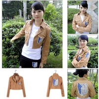 Cool Cosplay Attack On Titan Shingeki No Kyojin Recon Corps Jacket Coat Costume