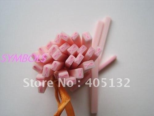 M 09 Free Shipping 100pcs 5mm Cute Rectangle Pink Ribbon Cane Fancy