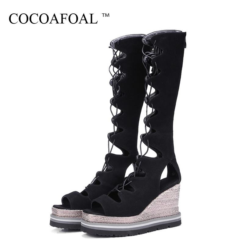 COCOAFOAL Women Open Toe Heels Gladiator Sandals Peep Toe Platform Sandals High Heeled Sexy Lace Up Summer Wedges Sandals 32 33 enmayer women s dress sandals fashion sexy high heels lace cutout summer shoes prom wedding open toe platform sandals