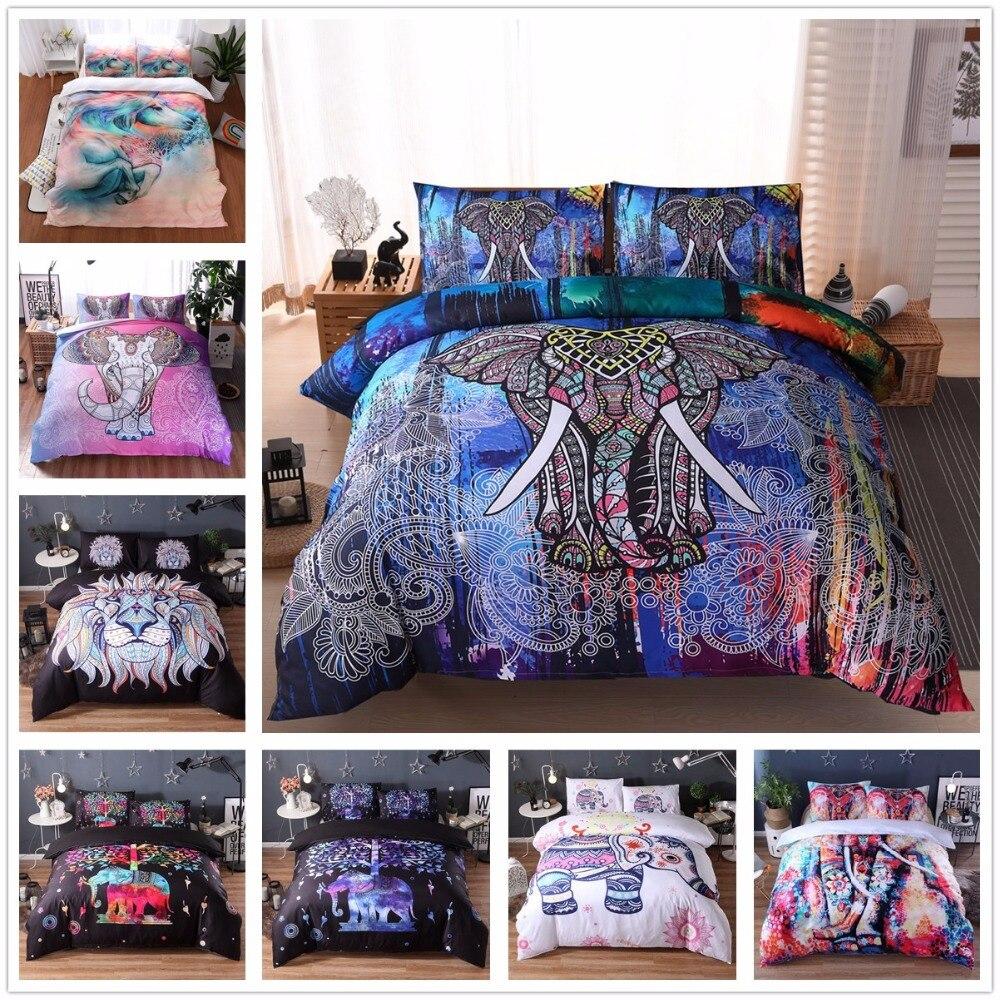 Lit nordique tissu éléphant linge de lit ensemble de couverture de lit taie d'oreiller oreiller Sham 3D housse de couette couverture de lit ensembles de literie US Twin