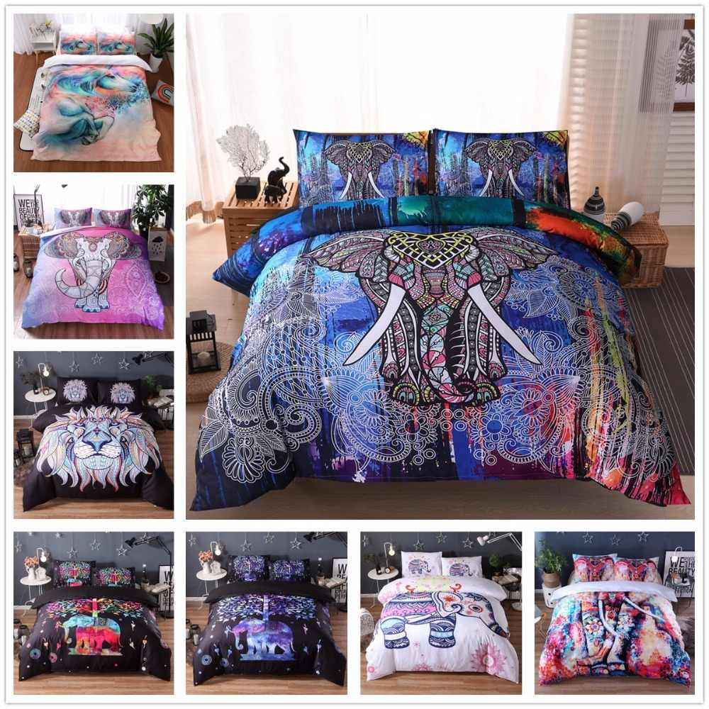 Nordic  Bed Cloth Elephant  Bed Linens Bed Cover Set Pillowcase Pillow Sham 3D Duvet Cover Bed Cover Bedding Sets US Twin