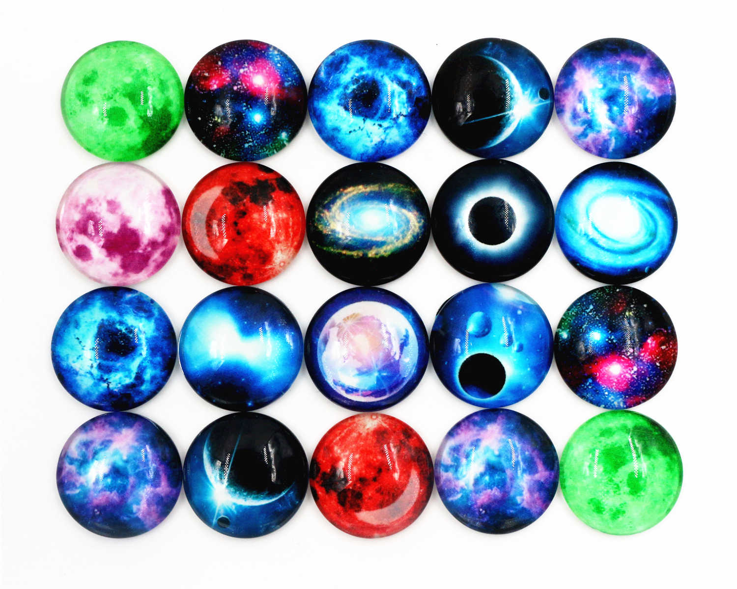 Hot Sale 10pcs 20mm New Fashion Mixed Luminous Stars Handmade Glass Cabochons Pattern Domed Jewelry Accessories Supplies-H4-06