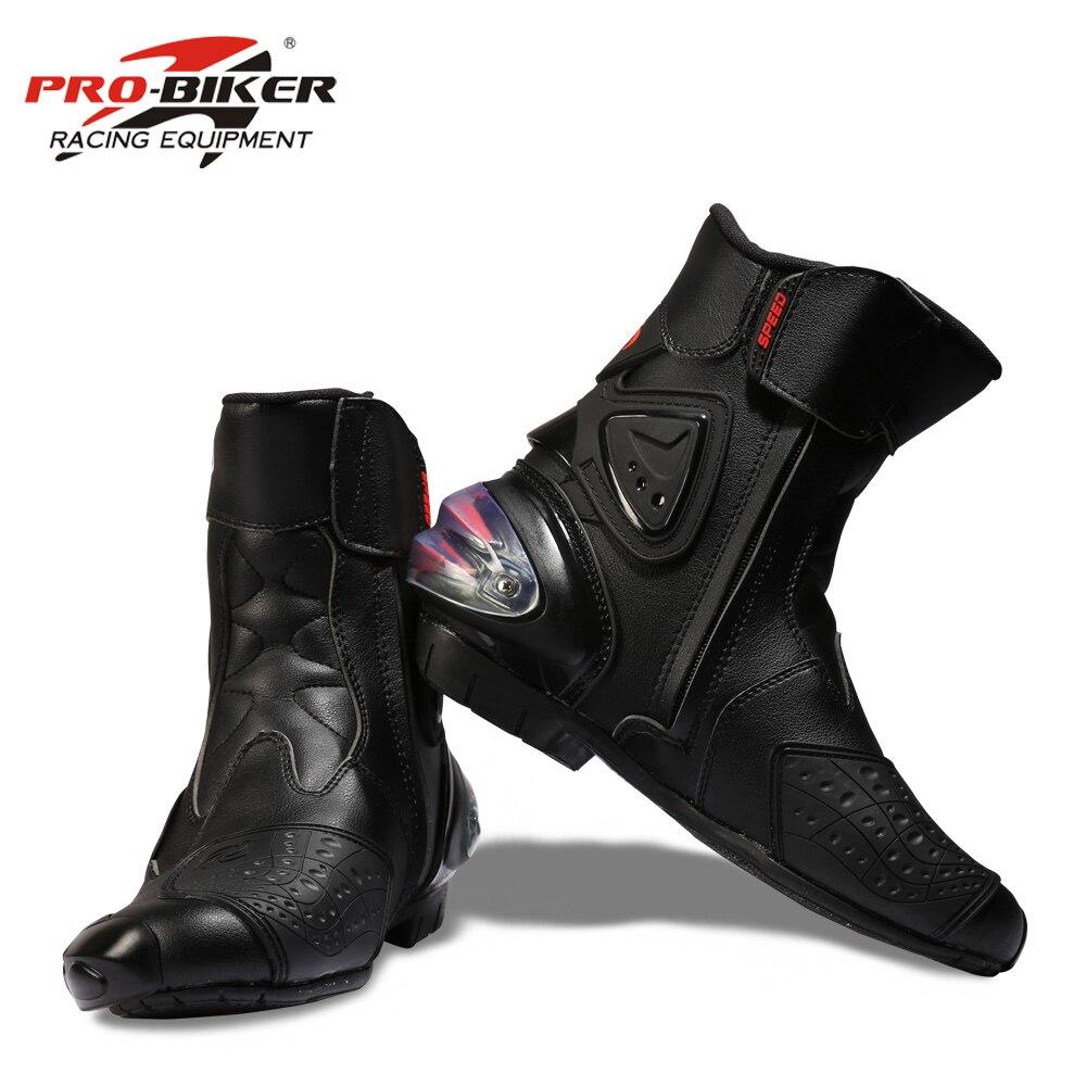 プロバイカースピード足関節保護オートバイブーツモトためのオートバイ乗馬レーシングモトクロスブーツ黒、赤、白  グループ上の 自動車 &バイク からの バイクブーツ の中 2