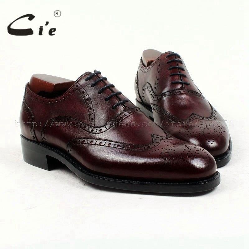 Cie bout rond complet richelieu cuir de veau pleine fleur sur mesure hommes chaussure à la main pur véritable cuir de veau hommes robe oxford OX418