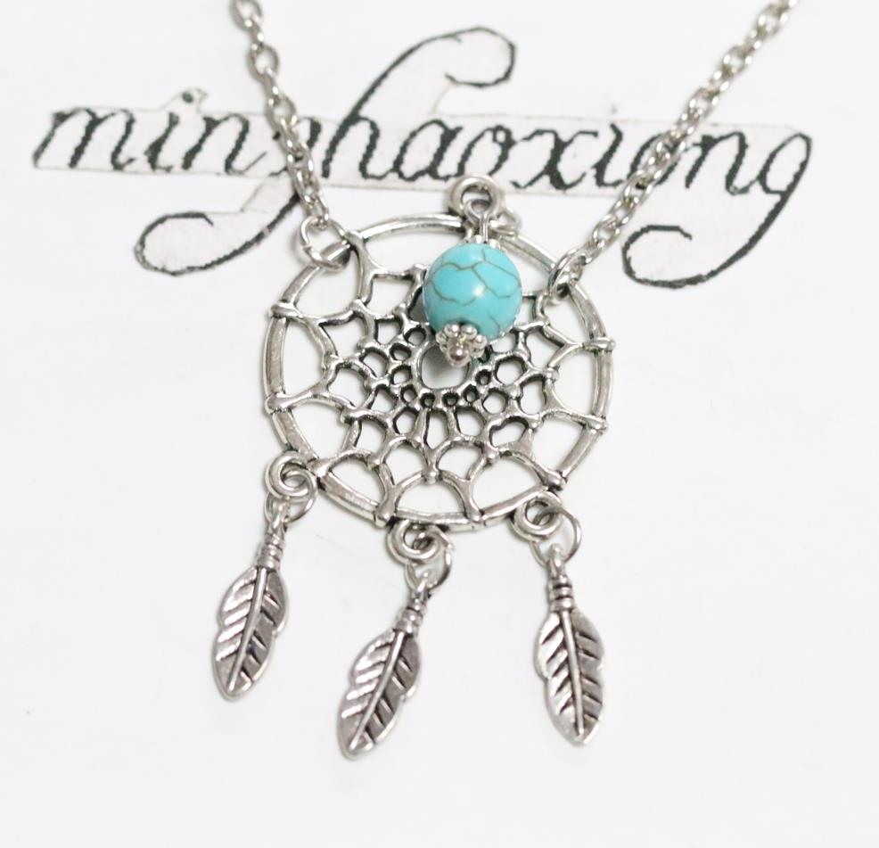 31681ee036 US $6.23 48% OFF|Native American Indian Tribal Necklaces Vintage Silver  Dreamcatcher Charm Pendant Necklace beads Statement Chain Choker-in Pendant  ...