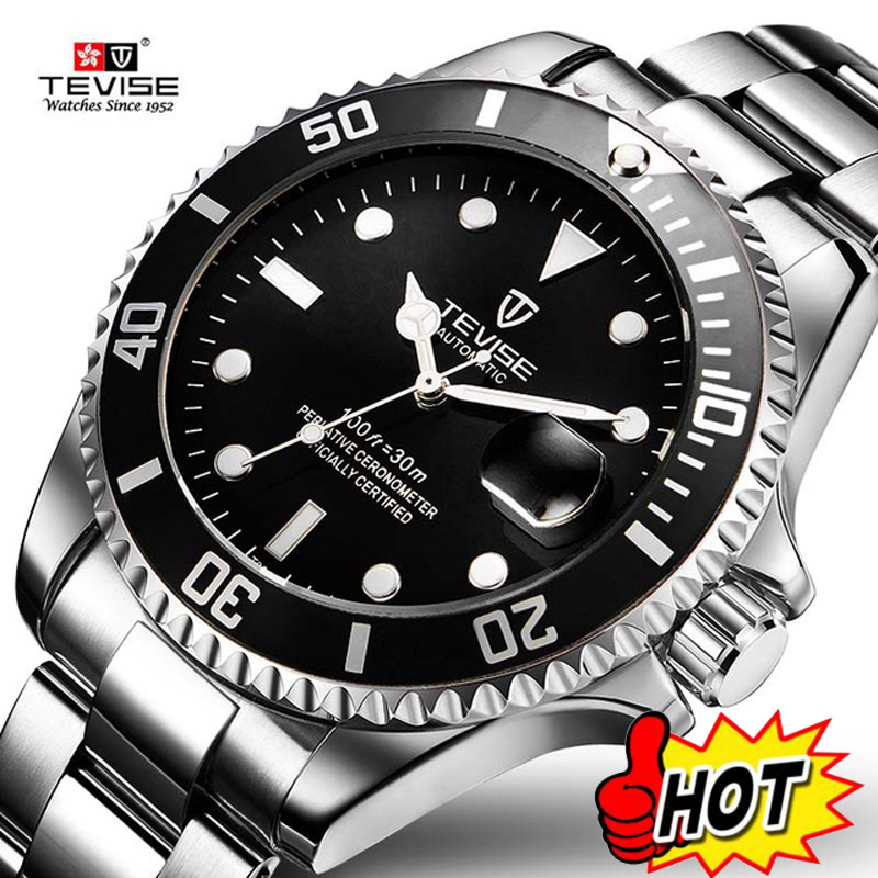 Tevise Top Brand Men Mechanical Watch Automatic Role Date Fashione luxury submariner Clock Male Reloj Hombre Relogio Masculino цена