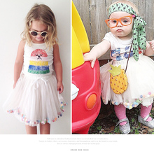 Free Shipping 2015 Baby 2 color girls Ball Gown Mini skirt Summer Outfits 80 120